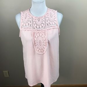 Halogen Pink Lace & Crepe Top Blouse